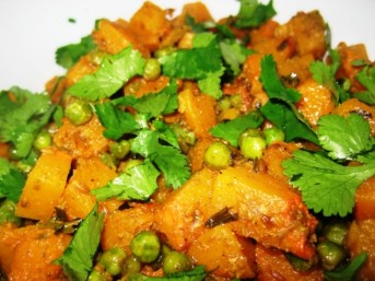 Butter-nut-squash with Peas Jeera Masala