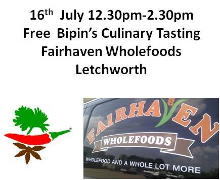 Bipins Masala Tasting at Fairhaven Wholefoods Letchworth Curry Recipe ideas