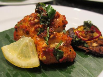 Indian Spice Crust Fish tikka on Bannan leaf